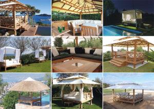 Honeymoon - Gazebo de luxe en bois - salon de jardin, lit d'extérieur en bois, mobilier luxe, cuisine d'été